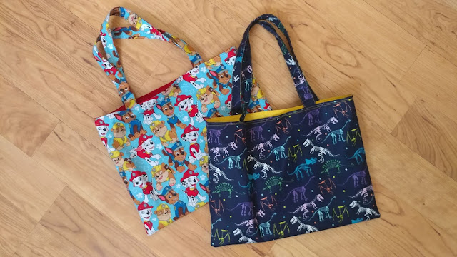 Quick and easy lined tote bags for boys