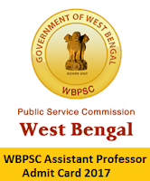 WBPSC Assistant Professor Admit Card