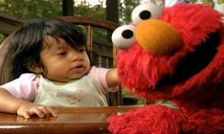 Elmo and a baby show how to wink. Elmo's World Eyes Kids and Baby.