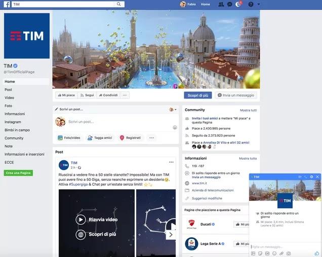 pagina facebook ufficiale di tim per chat con operatore