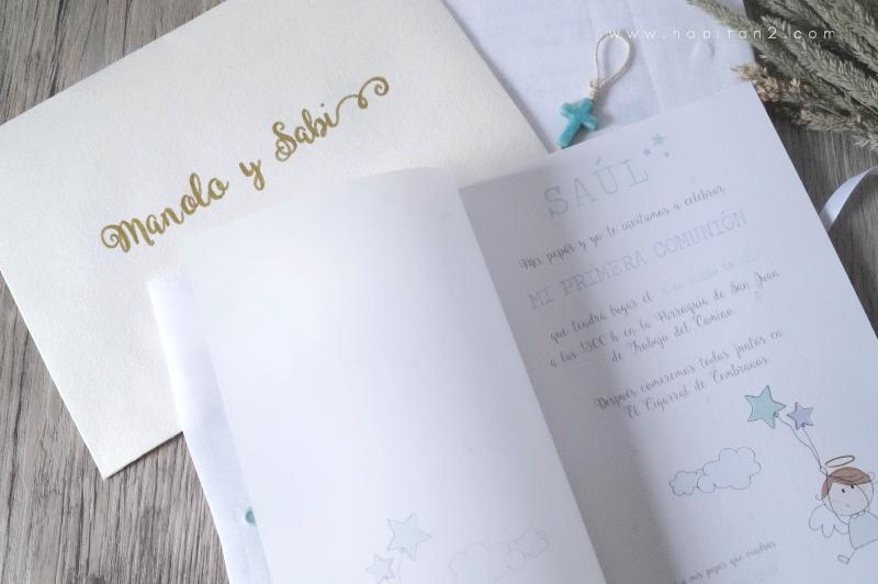 Invitaciones handmade de comunión diseño de Habitan2 | Decoración handmade para hogar y eventos | Eventos personalizados, diseño gráfico a medida | Invitaciones únicas para eventos