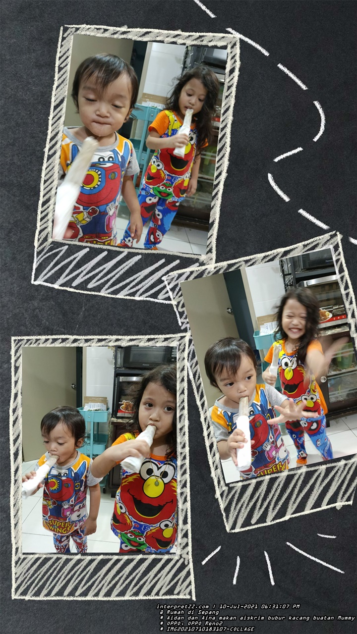 Photo collage of Aidan and Aina eating Malaysian ice cream flavored with durian bean porridge made by Mummy yesterday. # Saturday, 10 July 2021, 18:31 # 20210710 # IMG20210710183107-COLLAGE.jpg # OPPO Reno 2 #