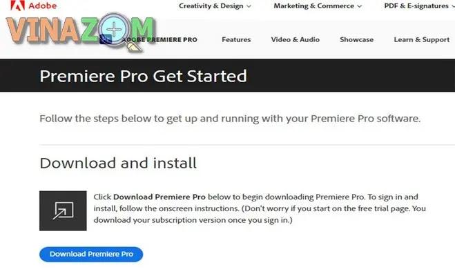 Cài đặt Adobe Premiere