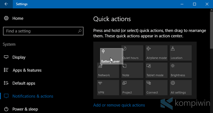 Cara Mengubah Letak/Jumlah Tombol Quick Action di Windows 10 2