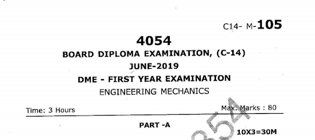 SBTET AP C14 ENGINEERING MECHANICS PREVIOUS QUESTION PAPER