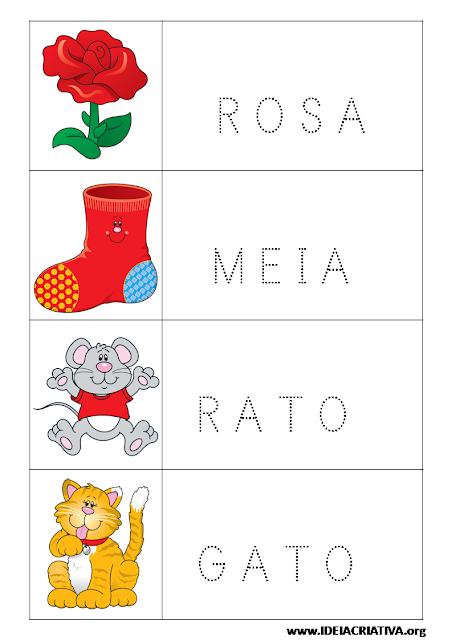Fichas para imprimir com figuras e palavras pontilhadas