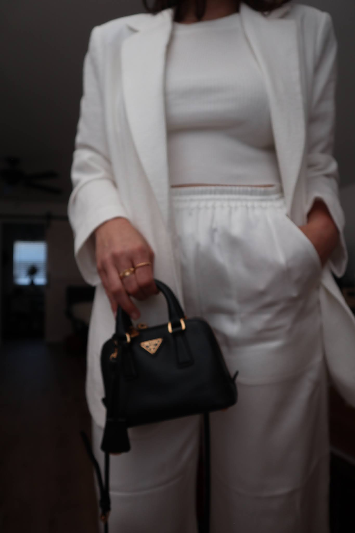 all white outfit H&M linen-blend blazer and club monaco satin pajama pants