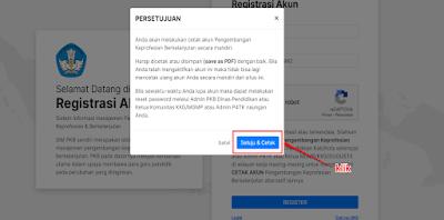 Lakukan konfirmasi registrasi akun dengan klik tombol Setujui & Cetak
