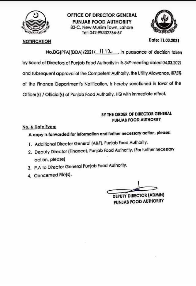 GRANT OF UTILITY ALLOWANCE FOR PUNJAB FOOD AUTHORITY EMPLOYEES