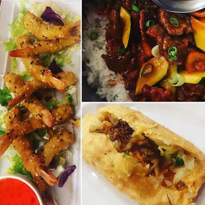 YanGao-Restaurante-Chino.gambas-arroz-con-ternera-en-barriles-rollo-de-primavera