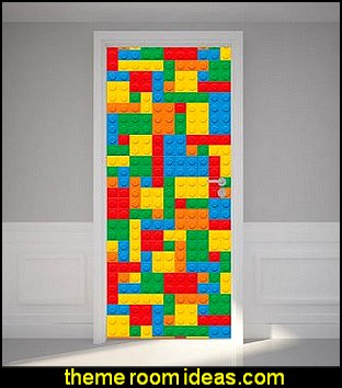 Door Wall Sticker Building Blocks - Peel & Stick Repositionable Fabric Mural