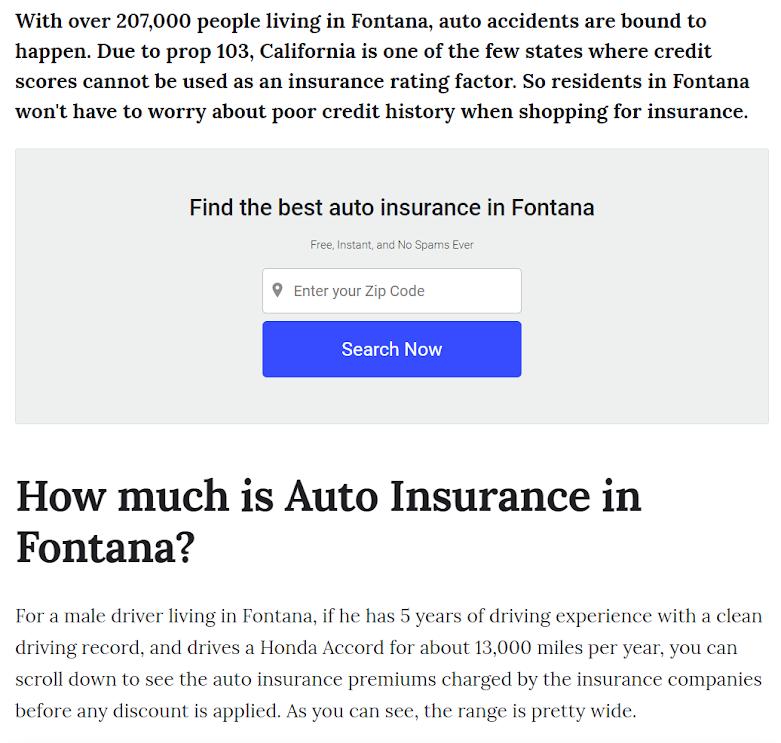 Car Insurance in Fontana California