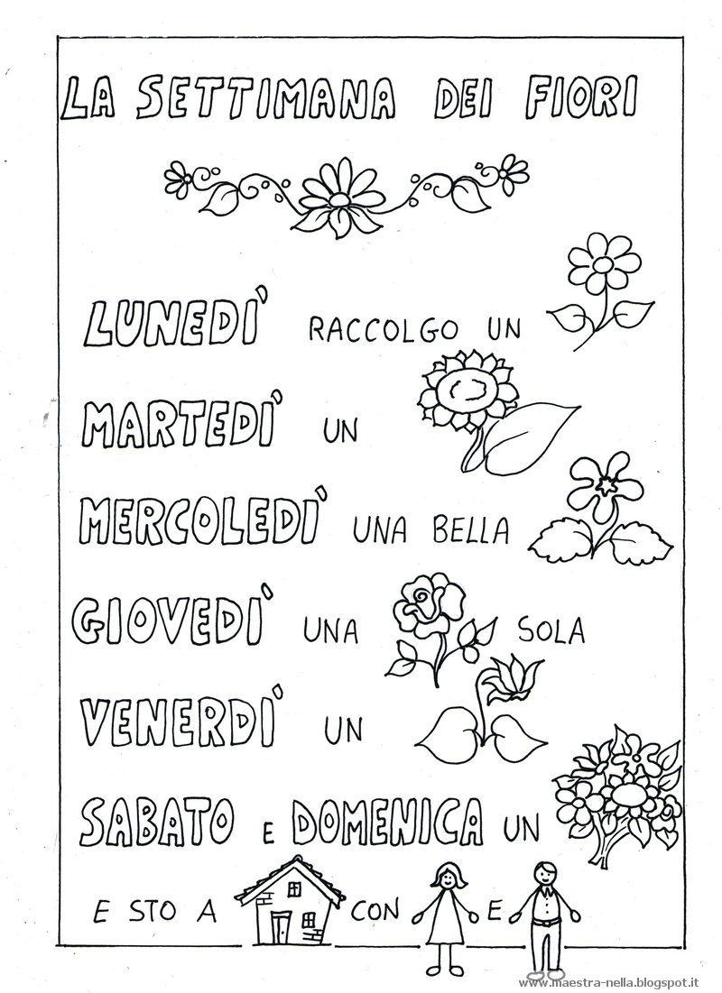 Preferenza maestra Nella: Filastrocca 'La settimana dei fiori' MB46