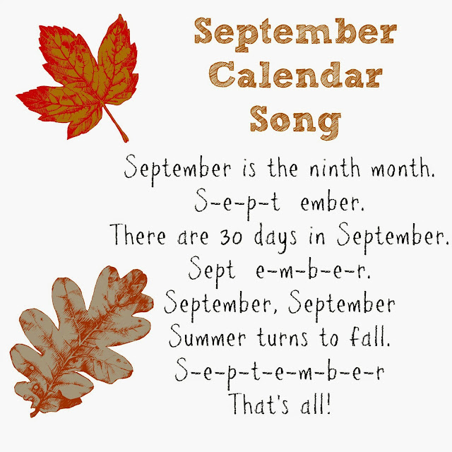 September Calendar of Special Days Holidays with Calendar Song.
