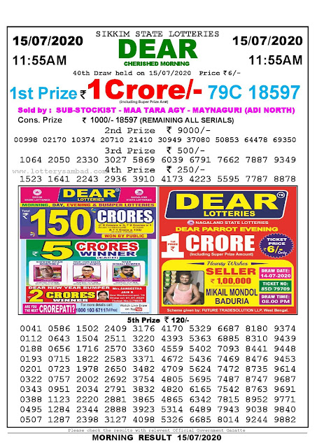 Sikkim State Lotteries 15-07-2020 Lottery Sambad Result 11:55 AM