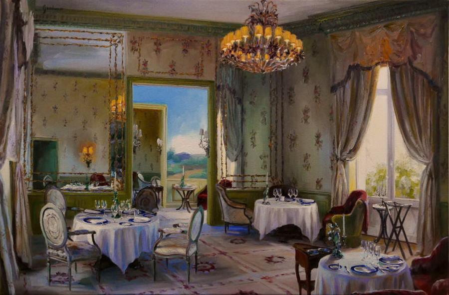 Im genes arte pinturas bodegones con mesas en interiores - Cuadros de interiores ...