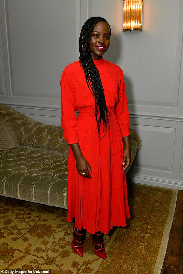 Lupita Nyong'o looks ravishing in red as she attended a special screening of her thriller Us