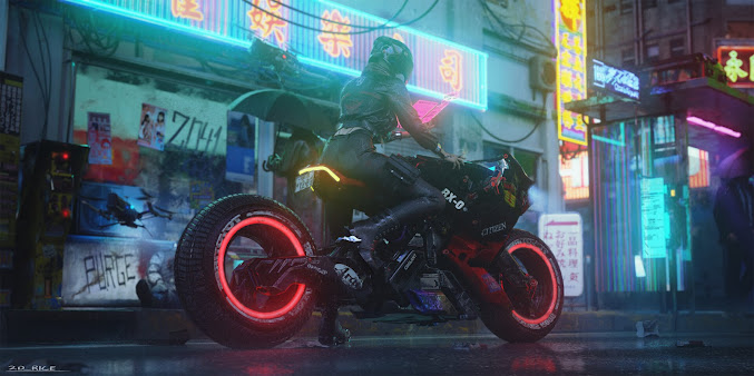 Cyberpunk Motorcycle Concept - Illustration Conor Lee