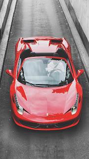 ferrari red top view car vehicle motor mirror auto