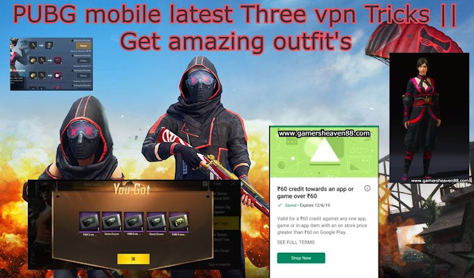 PUBG mobile latest Three vpn Tricks || Get amazing outfit's