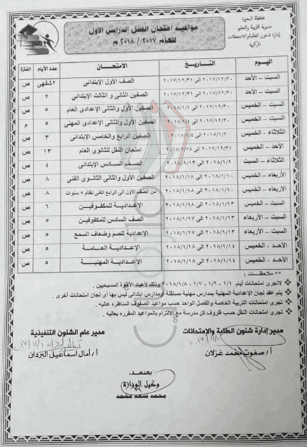 جدول إمتحانات الصف السادس الابتدائي 2018 الترم الأول محافظة البحيرة