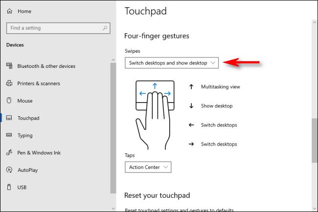 إيماءات لوحة اللمس بأربعة أصابع في نظام التشغيل Windows 10 والتي تعمل على تبديل أجهزة سطح المكتب الافتراضية