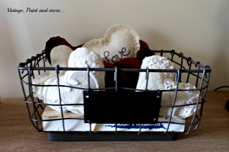 DIY fabric hearts from drop cloth fabric and velvet, vintage wire basket, vintage Valentine vignette