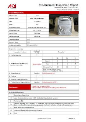 Informe de muestra de inspección de China