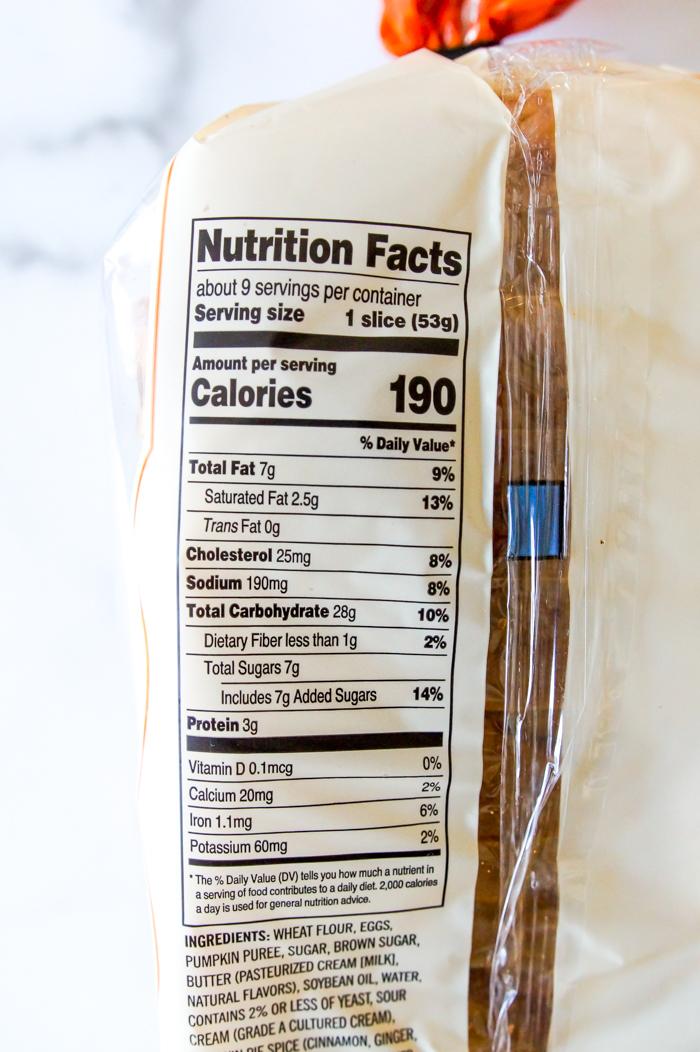 Trader Joe's Pumpkin Brioche Twist Bread Nutrition info