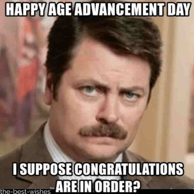 ron swanson funny happy age advancement day memes