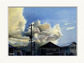 夕空 住宅地の上に素晴らしい雲