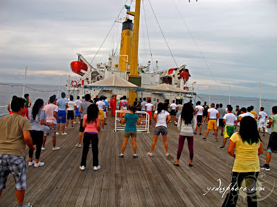 Regular morning calesthenics onboard ship