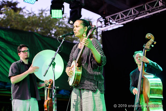 Rhiannon Giddens with Francesco Turrisi at Hillside Festival on Friday, July 12, 2019 Photo by John Ordean at One In Ten Words oneintenwords.com toronto indie alternative live music blog concert photography pictures photos nikon d750 camera yyz photographer