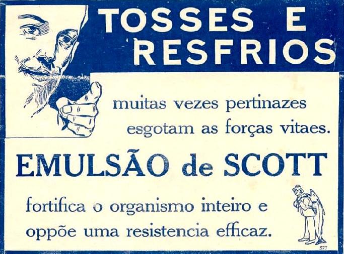 Propaganda antiga de 1921 do Emulsão de Scott para combater tosses e resfriados
