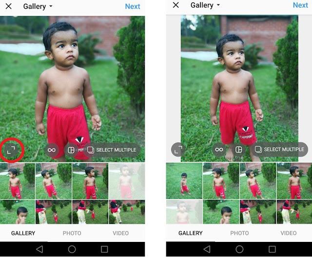 Cara Mengupload/Mengunggah Foto Ukuran Penuh di Instagram tanpa Memotong 4