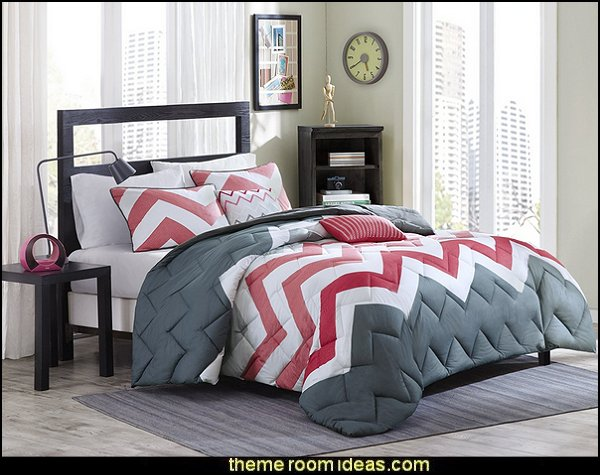 Coral, White, Gray - Chevron comforter set  zig zag bedroom decorating ideas - Zig Zag wall decals - Chevron bedroom decorating ideas - zig zag wallpaper mural - zig zag decor - Chevron ZIG ZAG print - Herringbone Stencil - chevron bedding - zig zag rugs - Zigzag Bedding  -  Chevron Themed Comforter