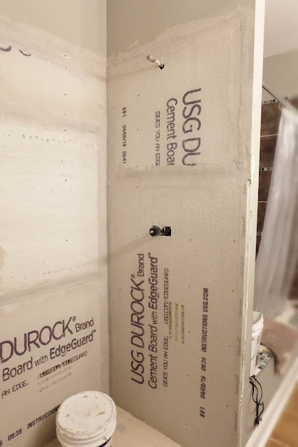 mortar patch seam cement board shower renovation