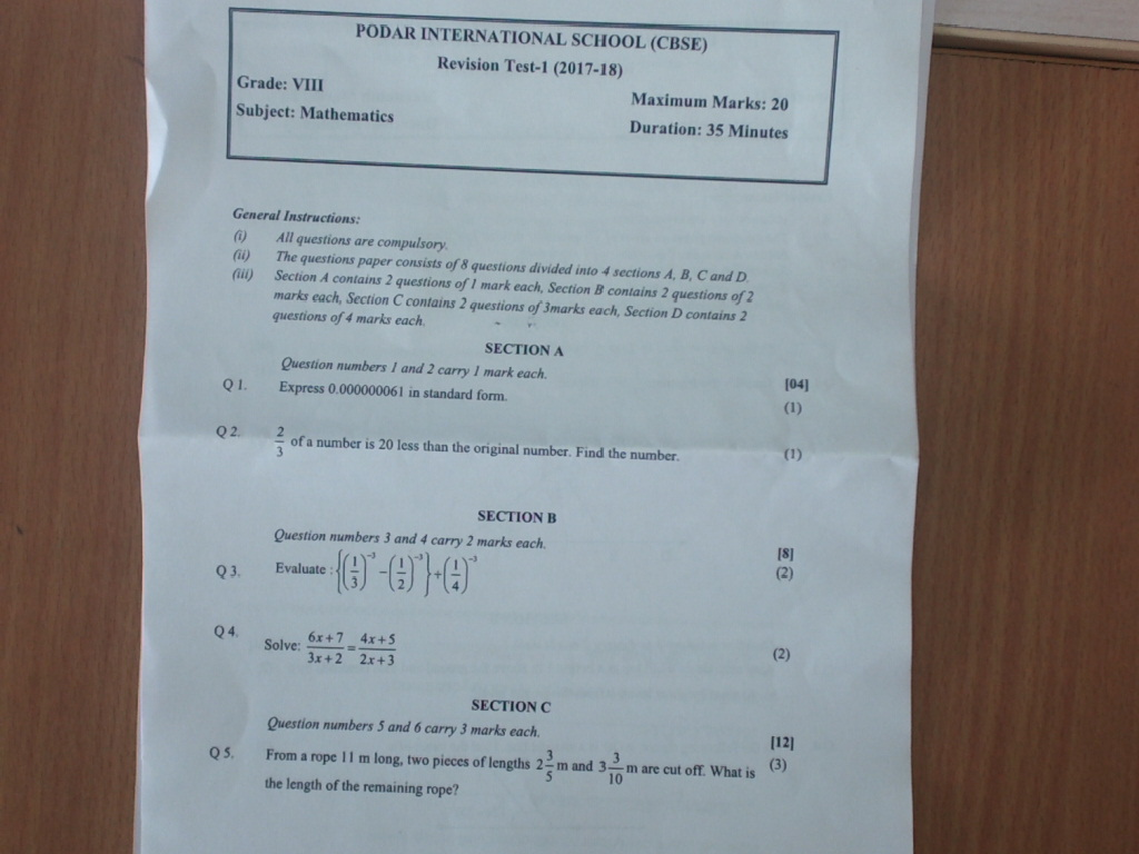 Grade-8 Podar International School,Gandhinagar: maths8 Revision ...