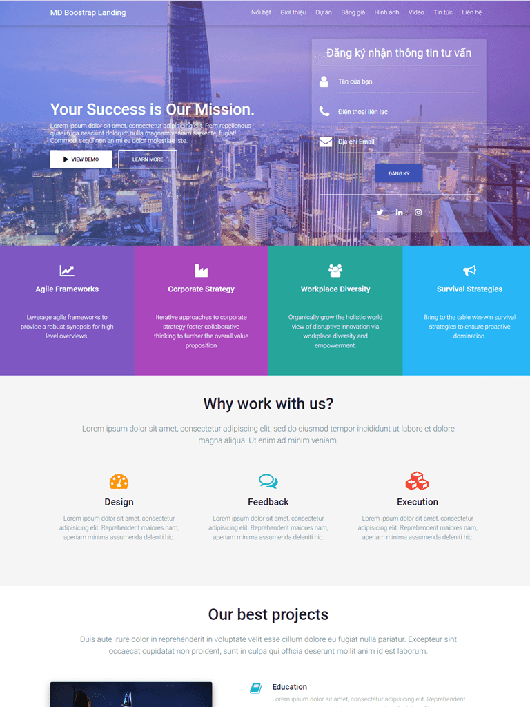 Material Design Bootstrap Landing Page Template