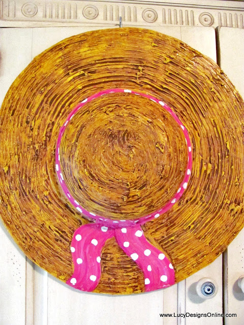 dimensional straw hat sculpture art decor