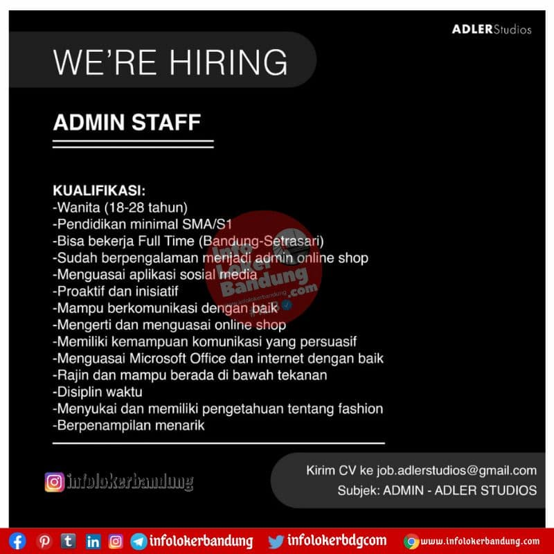 Lowongan Kerja Admin Sataff Adler Studios Bandung Juni 2021
