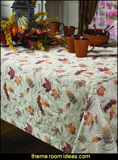 Natures Leaves Jacquard Printed Fabric Tablecloth
