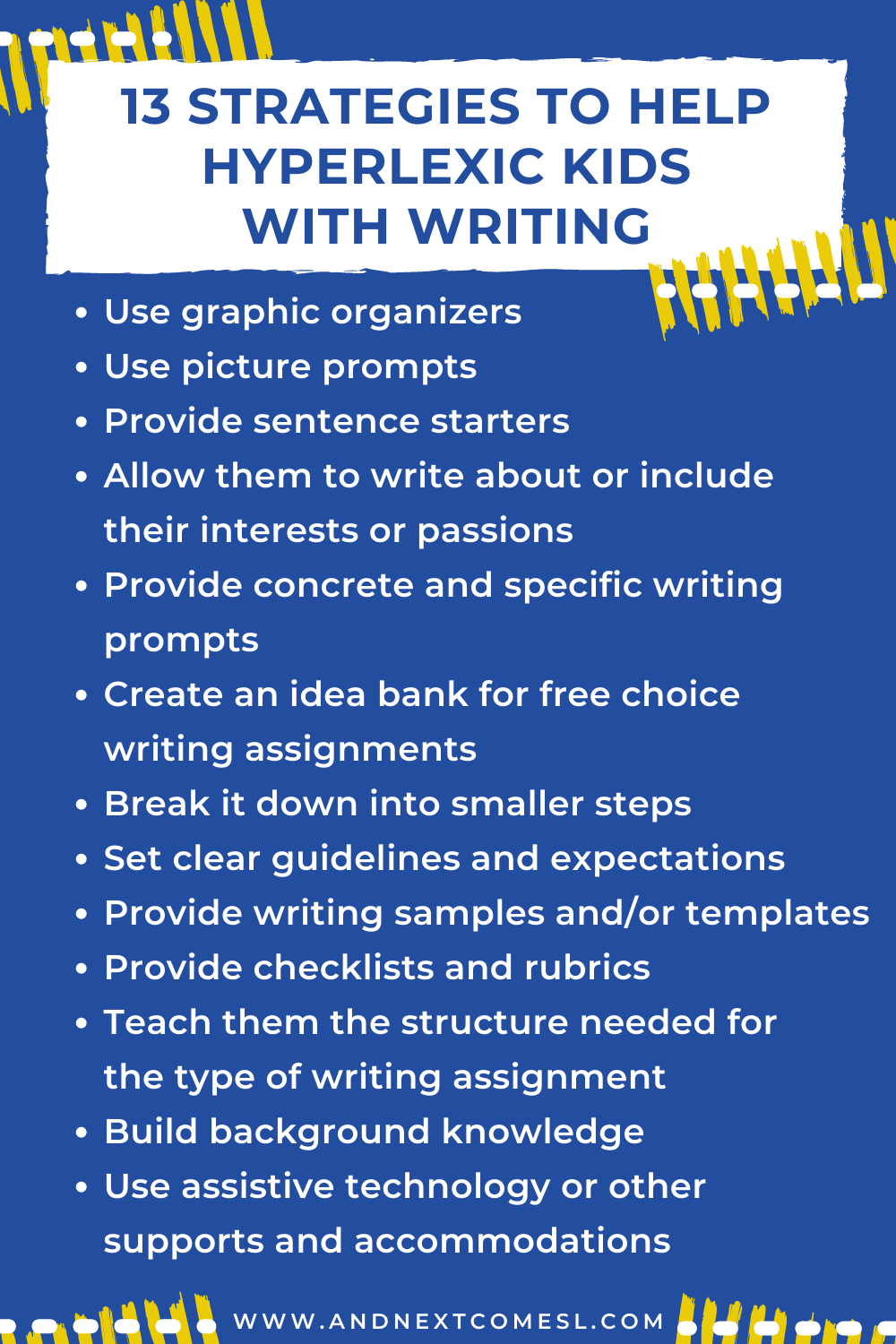 A list of strategies and tips for helping hyperlexic kids with writing assignments