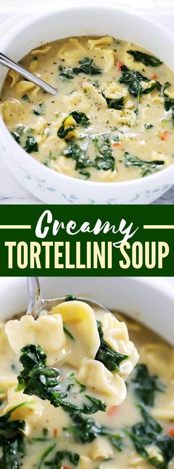 Creamy Tortellini Soup #vegetarian #spinach