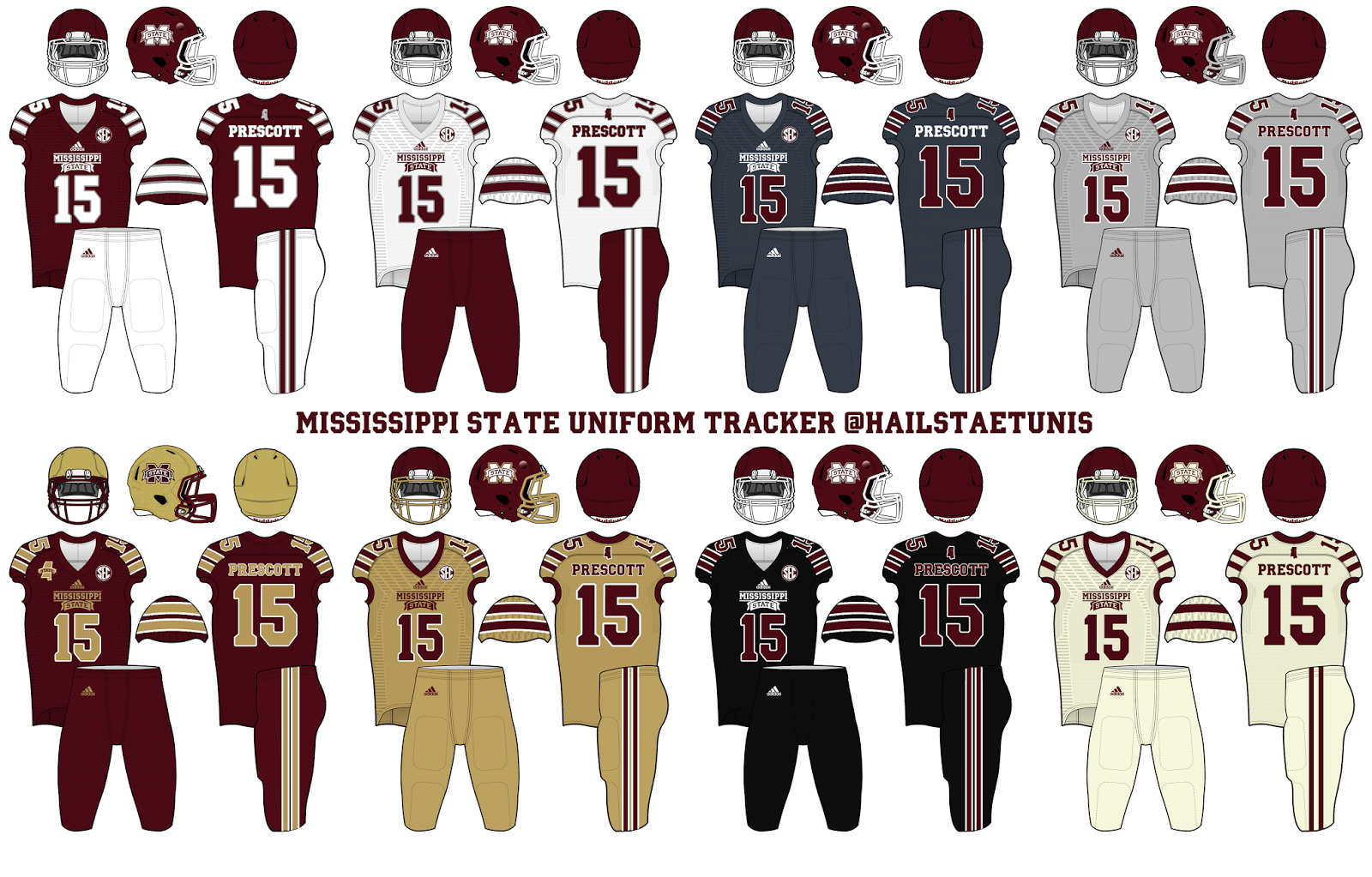 c3c980b775a Mississippi St. Football Uniform Tracker: Concepts
