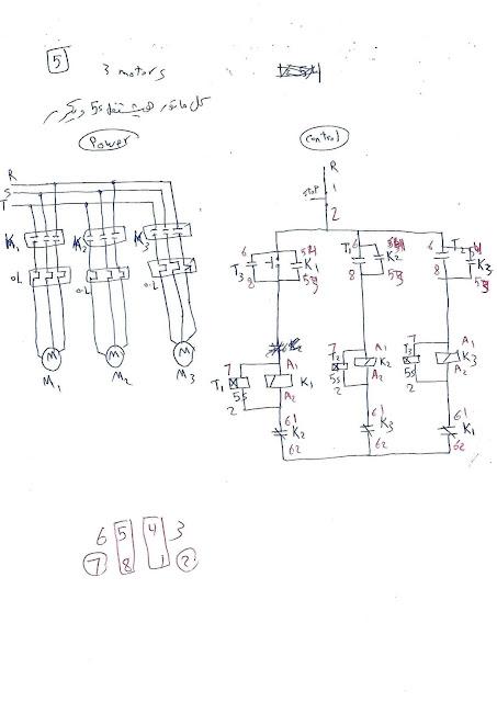 5- دائرة تشغيل 3 مواتير كل ماتور هيشتغل 5 ثواني مع تكرار العملية