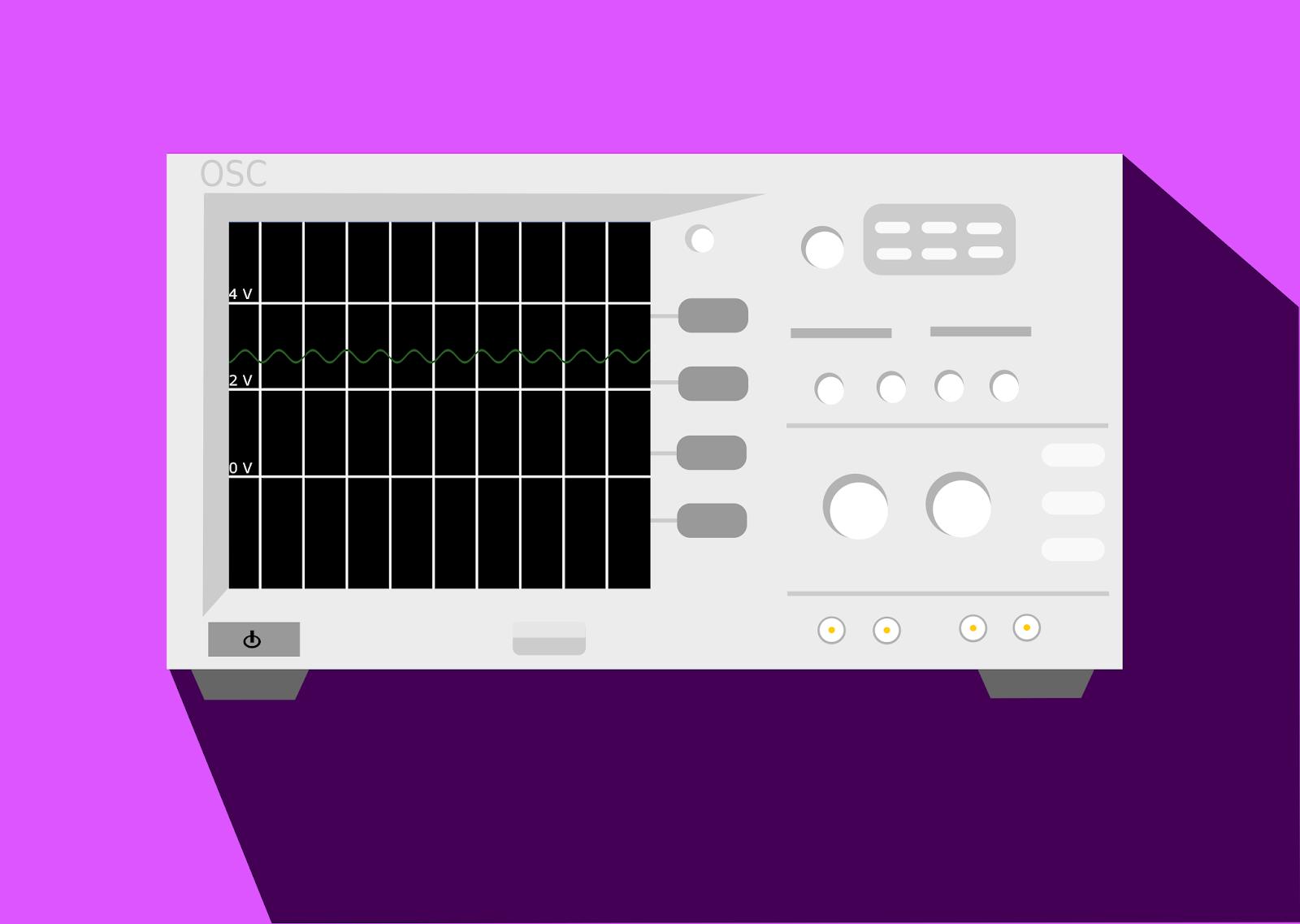 Oscilloscope affichant une tension réputée continue d'environ 2.5 V