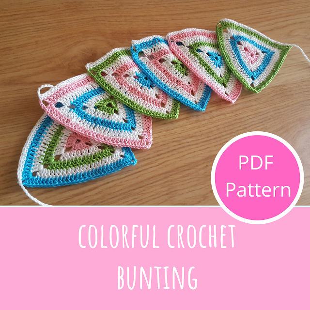 Colorful crochet bunting pattern