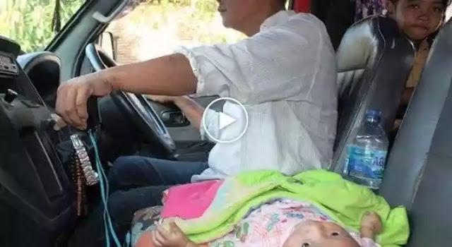 Bikin Nangiis, Video v1raal Sopir Angkot di Semarang Kerja Sambil Bawa Bayi 3,5 Bulan.