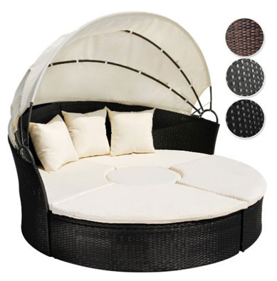 Miadomodo Rattan Sun Day Bed with Table, Round Outdoor Daybeds UK, Outdoor Daybeds UK, Daybeds UK, Outdoor Daybeds at Amazon.co.uk, Amazon.co.uk, Best Outdoor Daybeds, Outdoor Furniture, Quality Outdoor Daybeds,